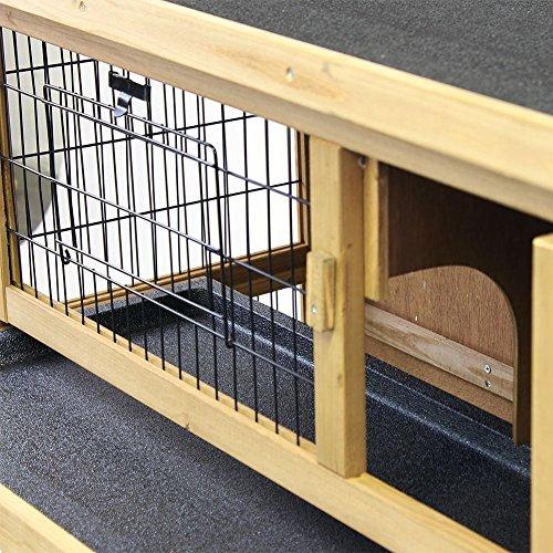 Kaninchenstall / Hasenstall EMMA auf 2 Etagen – 92x45x81 cm – Kleintier-Stall für Draußen. Der wetterfeste, doppelstöckige Stall für 2 Kaninchen – Timbo Hasenkäfig und Hasenstall - 5