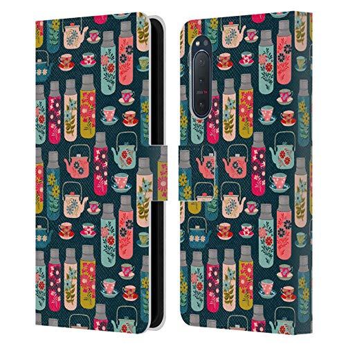 Oficial Andrea Lauren Design Frascos y Tazas de Taza Patrón de Carcasa de Cuero Tipo Libro Compatible con Sony Xperia 5 II 5G