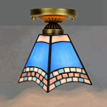 سقف BRSL Mini-blue ، سقف زجاجي ملون قديم بطول 6 بوصات من معدات إضاءة ممر البحر الأبيض المتوسط لممر الشرفة، E27 (اللون : E)