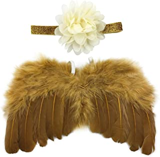 Newborn Baby Gold Feather Angel Wings with Lotus Hairband, Halo Set