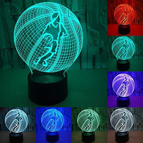 RUMOCOVO Basket 3D Regalo Di Compleanno Lampada 7 Colori Cambio Automatico Luce di Notte Bambino Ragazzi Uomo Regali Giocattolo per il Basket Sport ventole Compleanno Natale Regalo Del Partito