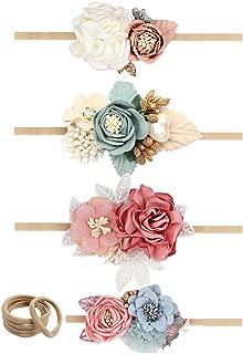 Oaoleer 4pcs Baby Girls Floral Headbands Lightweight Nylon Elastic Hair Band For Newborn Infant Toddler