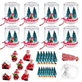 8 Kit globi di neve in plastica trasparente con neve artificiale, mini alberi di Natale, pupazzo di neve, Babbo Natale, casa, corda rossa e bianca per decorazioni natalizia globi di neve fai da te