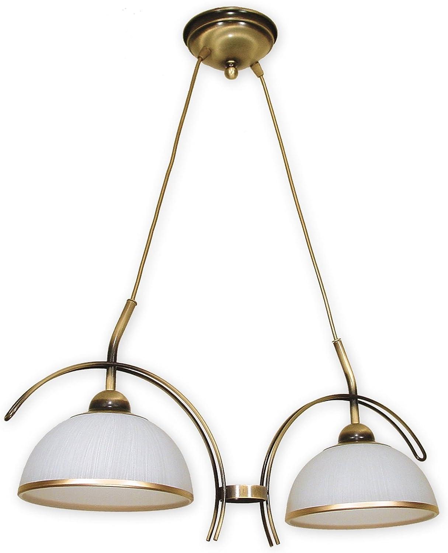 Stilvolle Pendelleuchte Wei Gold E27 bis 60W 230V Stahl Glas Wohnzimmer Esszimmer Lampe Leuchte