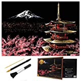 MIASTAR Scratch Painting Kits for Adults & Kids, Craft Art Set, Rainbow Scratch Art Painting Paper, Sketch Pad DIY Night View Scratchboard, 16'' x 11.2'' Creative Gift - with 3 Tools (Mount Fuji)