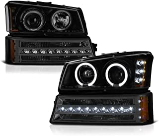 VIPMOTOZ Black Smoke LED Halo Ring Projector Headlight + LED Strip Front Bumper Parking Turn Signal Lamp Housing Assembly Replacement For 2003-2006 Chevy Avalanche Silverado 1500 2500 3500