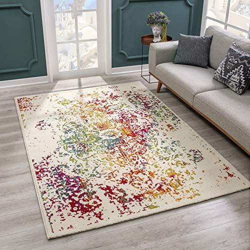 SANAT Teppich Vintage - Modern Teppiche für Wohnzimmer, Kurzflor Teppich in Beige, Öko-Tex 100 Zertifiziert, Größe: 120x170 cm