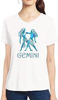 Pooplu Womens Gemini Symbol Cotton Printed V Neck Half Sleeves White Tshirt. Astrology, Sun Sign, Zodiac, Horoscope, Symbol Tshirts
