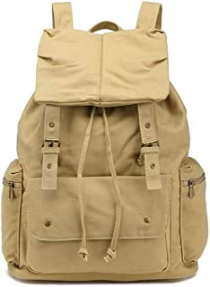 Outdoor Sports Canvas Backpack Bag Large-Capacity Fashion Multi-Function Leisure Travel Bag. XFGBTJKYAUu (Color : Yellow, Size : S)