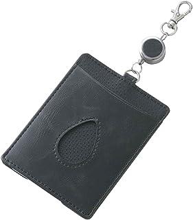 レイメイ藤井 パスケース リール,薄型レンズ付き 合皮製 ブラック GLP151B