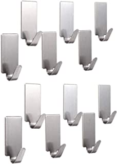 HOME CUBE Rectangle Shape Stainless Steel Adhesive Wall Hooks(12 Pcs) for Room, Kitchen, Bathroom, Clothes etc.