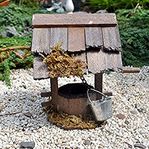 wooden wishing well for miniature garden fairy garden