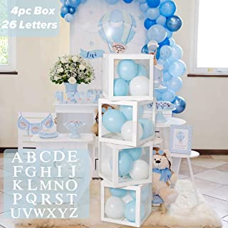 Birthday Party Baby Shower Decorations – DIY 4pcs White Transparent Boxes with A - Z Letters, Party Boxes Block for Baby S...