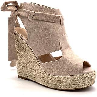 231ca8be997a39 Angkorly - Chaussure Mode Sandale Mule Plateforme Peep-Toe Ouverte arrière  Femme Ruban Corde tréssé