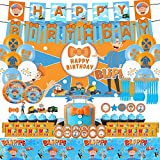Blippi Party Supplies for Kids,132pcs Birthday Decorations,Blippi Photography Background Set includes Happy Birthday Banner,Photography Backdrop,Tableware Set,Cake Toppers,Cupcake Toppers,Chocolate Stickers,Latex Balloons Set