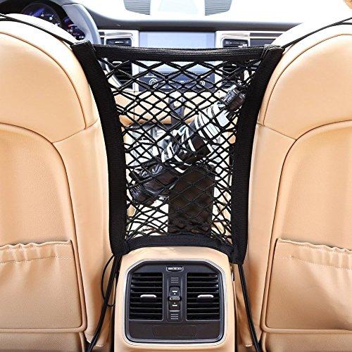 Auto Organizer Netz Schutznetz & Ablagefach I Universal & Elastisch I KFZ Netztasche Sitz Halter für Wasser/Handy/Spielzeug