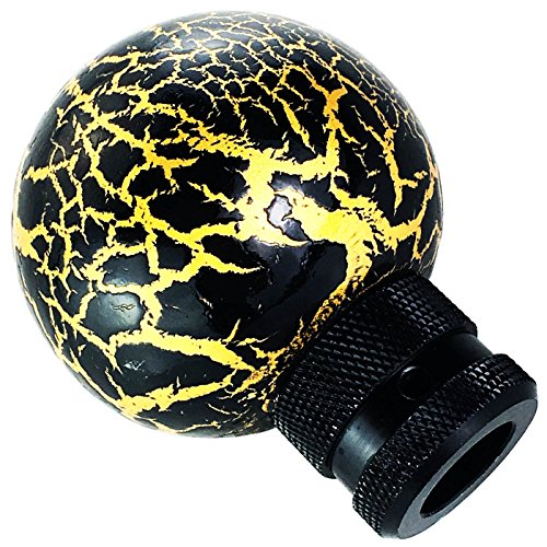 Lunsom Round Shift Knob Ball Gear Stick Marble Pattern Shifter Handle Head Fit Most Automatic Manual Transmission Car (Black)