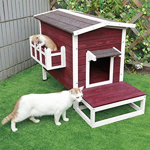 Petsfit Large Weatherproof Outdoor Cat House with Flowerpot
