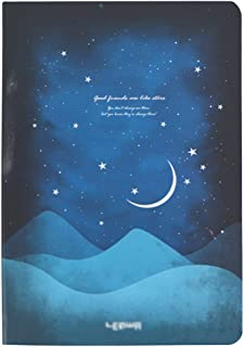 Felice Starry Night Moon Night Casebound Hardcover Notebook A5 Ruled Writing Notebook Diary Journal Notepad with Ribbon Bookmark (half moon)