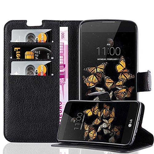Preisvergleich Produktbild Cadorabo Hülle für LG K8 2016 in Phantom SCHWARZ - Handyhülle mit Magnetverschluss,  Standfunktion und Kartenfach - Case Cover Schutzhülle Etui Tasche Book Klapp Style