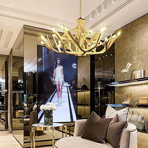 MJK Candelabros Lámparas de techo, Antler American Country Chandelier, Araña de resina creativa europea, Fuente de luz E27 * 24, 93 * 55Cm
