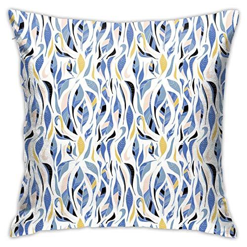 Funda de almohada, diseño de plumas de colores en blanco moderno funda de cojín cuadrada de decoración para sofá, cama, silla, coche, 45,7 x 45,7 cm