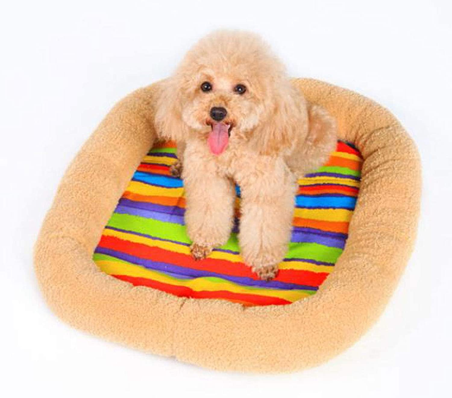 LYX1,Pet Bed Rainbow Cotton Velvet Pet Mat Kennel Mat Nest Cat Mattress Dog Cage Pad (Size   80  62  9cm)