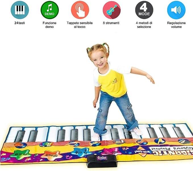 52 opinioni per BAKAJI Tappeto Musicale Tastiera da Pavimento Giocattolo per Bambini con 8 Suoni