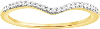 Round Cut 0.08 ct White Natural Diamond V Shape Half Eternity Band Ring In 10k Solid Gold