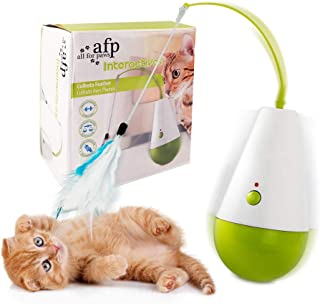 All for Paws Interactive Cat Teaser Toy, Automatic Cat Culbuto Toy with Detachable Feather