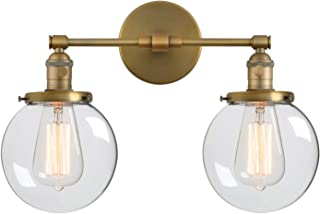 Phansthy Double Sconce Vintage Industrial 2-Light Wall Light with 5.9 Inches Clear Glass Canopy(Antique)