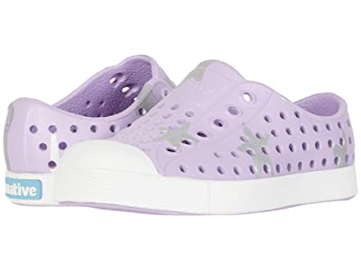 Native Kids Shoes Jefferson Print (Toddler/Little Kid) (Lavender Purple/Shell White/Silver Big Star) Girls Shoes