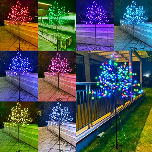 6FT 168 LED Lighted Cherry Tree with Remote, Pink Purple Orange White Color Changing Branch Lights Plug in for Indoor Outdoor Christmas Wedding Thanksgiving Party Halloween Decor