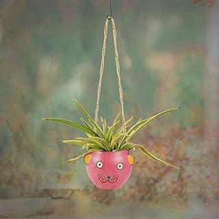Aakriti Art Creations Pink Fish Earthen Hanging Planter(6x5x17)
