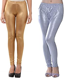 SriSaras Women's Skinny Fit Leggings (Pack of 2) (SriSaras6_Gold & Silver_Large)