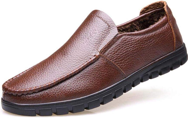 Winter Casual Men's shoes Leather Business shoes A Pedal Warm shoes