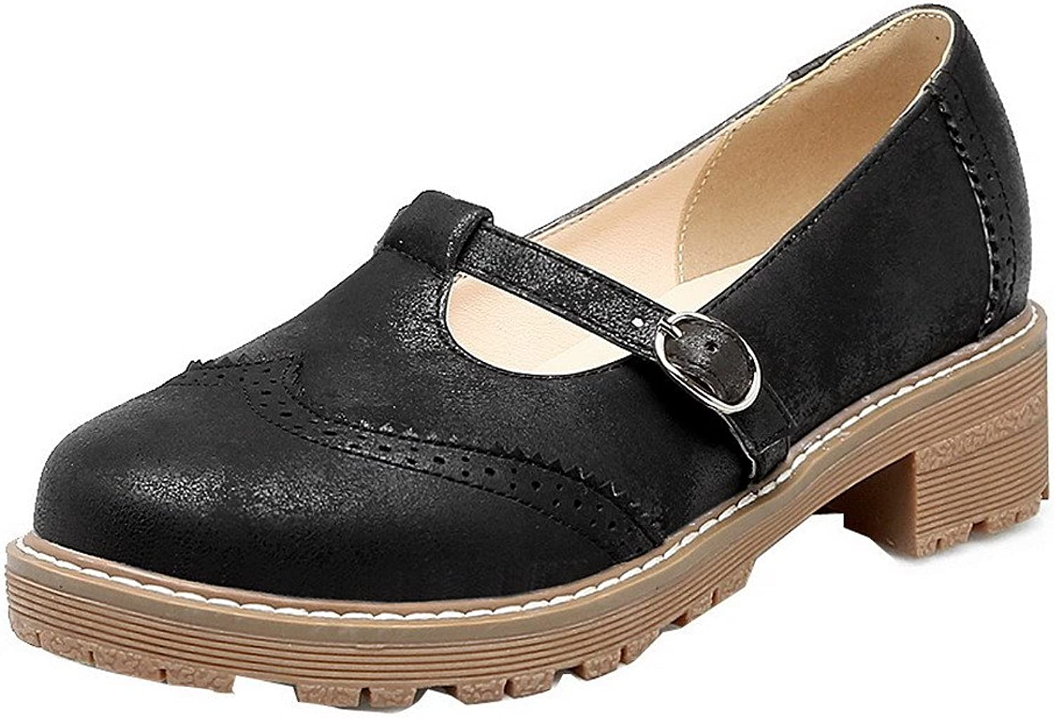 WeiPoot Women's Low-Heels Solid Pull-On PU Round Closed Toe Pumps-shoes