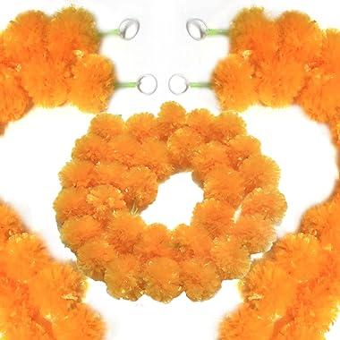 5 Packs Marigold Garland 4.7ft Long Artificial Orange Marigold Flower Garlands for Indian Diwali Decoration, Wedding Party Ma