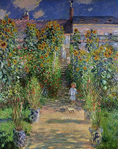 cuadrosfamosos.es Canvas Lienzo Bastidor Jardín de Monet de Oscar-Claude Monet - 70cm x 95cm - Fabricado en España