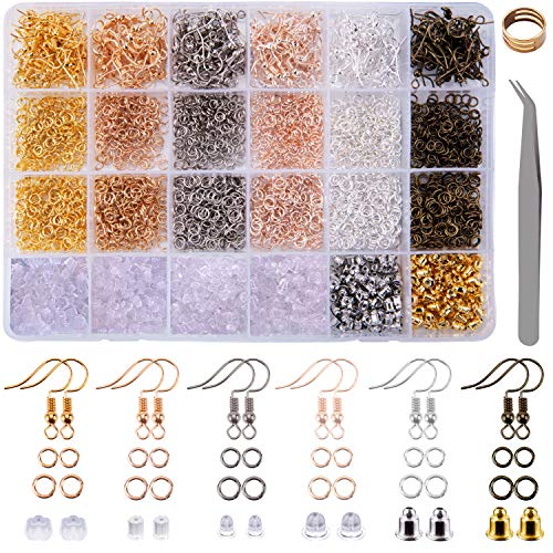 BQTQ 3900 Pieces Earring Making Kit with Earring Hooks, Jump Rings, Earring Backs, Tweezers and Jump Ring Opener for Jewelry Making and Earring Repair, 6 Colours