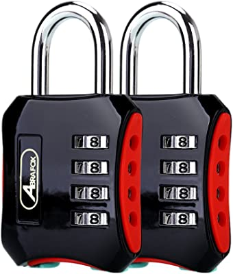 ABRAFOX Padlocks,2-Pack Heavy Duty 4-Digit Re-settable Combination Codes Locks, Luggage Locks for Gym, Indoor, School or Sports Locker, Toolbox, Fence Daily Use Black