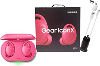 Samsung Gear IconX (2018 Edition) Pink Bluetooth Cord-Free Fitness Earbuds, w/On-Board 4Gb MP3 Player - with Car Charger & OTG C - (Renewed)