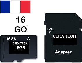 Tarjeta de Memoria Compatible con Cloudfone Go SP, CEKA TECH® Micro-SD 16GB Clase 10 con Adaptador SD