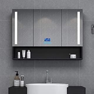 RKRZLB Bathroom Cabinet,LED Illuminated Bathroom Mirrors,Mirror Cabinet with Demister Heat Pad and Shaver Socket Wall Mount Pull Switch 607514 (Color : Smart Second Generation, Size : 120cm)
