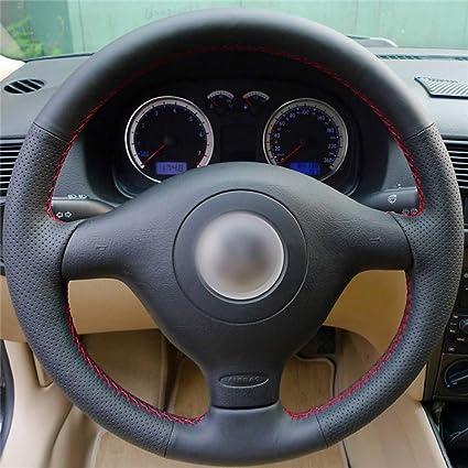 Hcdswsn Schwarzes Echtes Leder Lenkradbezug Für Volkswagen Vw Golf 4 1998 2004 Passat B5 1996 2005 Polo 1999 2002 Seat Leon Sport Freizeit