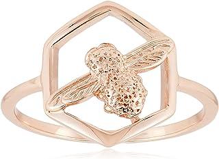 Olivia Burton Women's Rose Gold Plated Honeycomb Ring - OBJ16AMR06