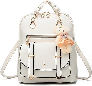 Leather Backpack, Cyclamen9 Women Casual Multi-Way Girls School Backpack Cute Cartoon Pendant Backpacks