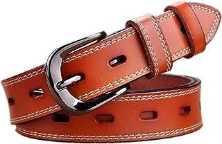 GLJJQMY Women's Vintage Cutout Leather Pin Buckle Belt Dress Accessories Ladies Belt (Color : Orange, Size : 110cm)