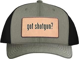 One Legging it Around got Shotgun? - Leather Light Brown Patch Engraved Trucker Hat