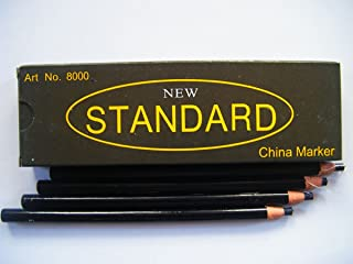 12 PCS 1 DOZEN - Peel-Off China Markers Grease Pencil - BLACK